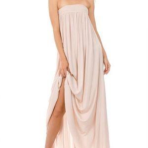 Strapless tan khaki resort style boho maxi dress